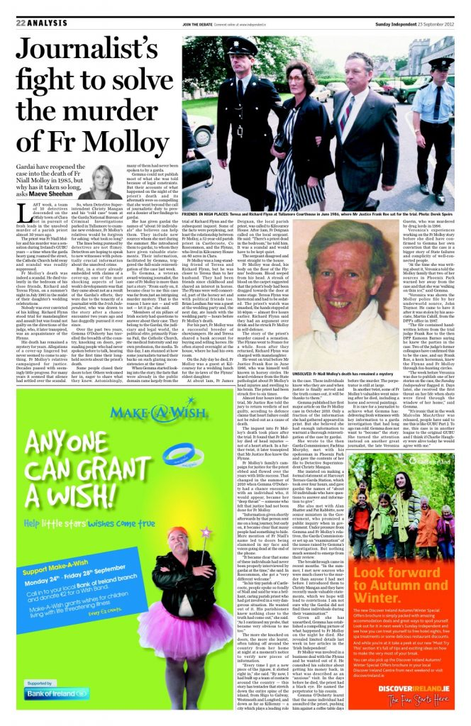 Fr Molloy Investigation Sunday Independent 2012