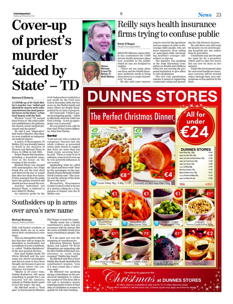 Fr Molloy cover up aided by state