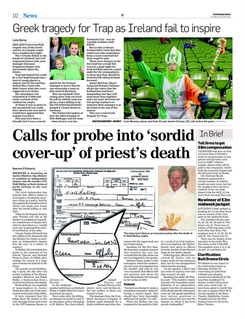 Fr Molloy fraudulent insurance claim Gemma O'Doherty