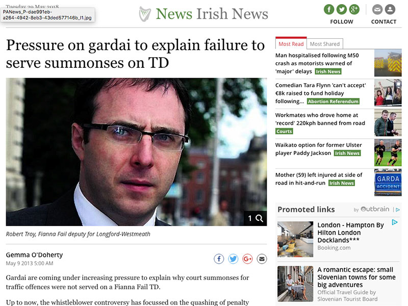 Pressure on gardai to explain failure to serve summonses on TD